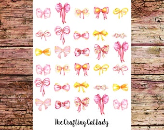 Pretty Pink and Yellow Bow Planner Stickers