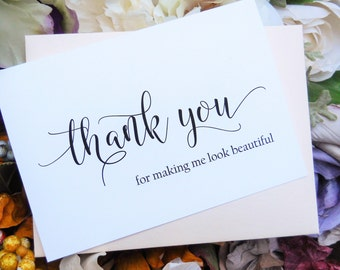 HAIRSTYLIST THANK YOU Card, Beautician Thank You, Make  Up Artist Thank You, Wedding Thank You Cards, Personalized Thank You Cards