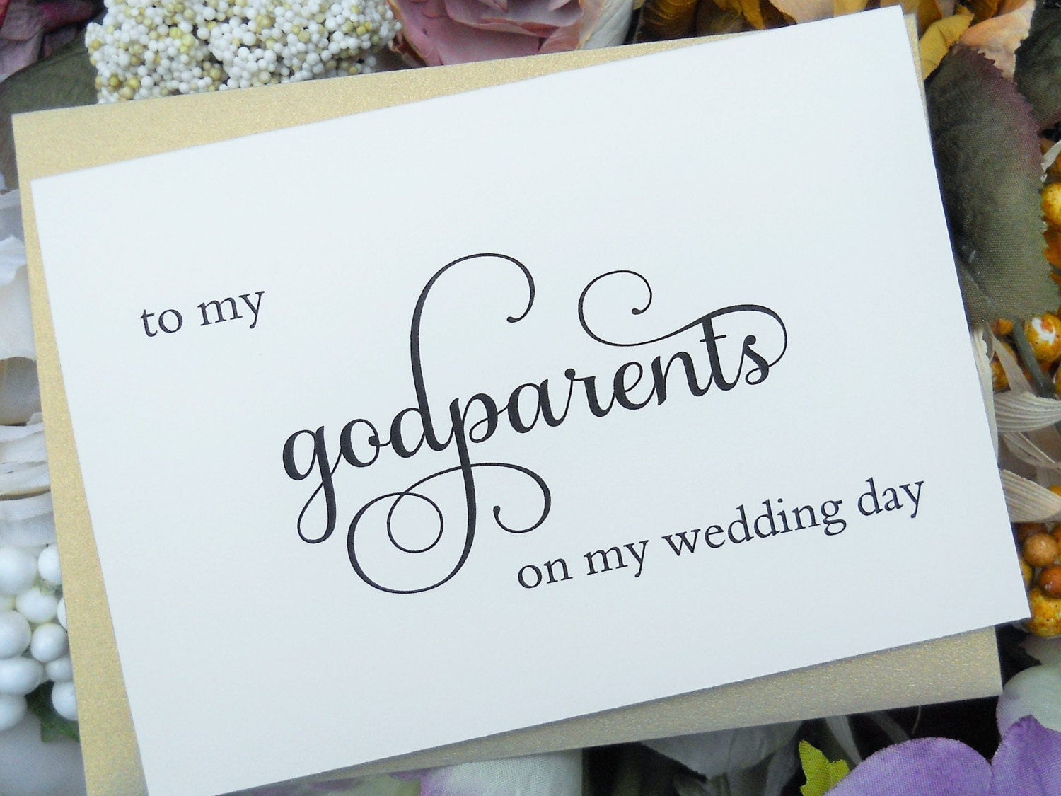 Wedding Gifts For Godparents : TO MY GODPARENTS on my Wedding Day Card Wedding Note Card To