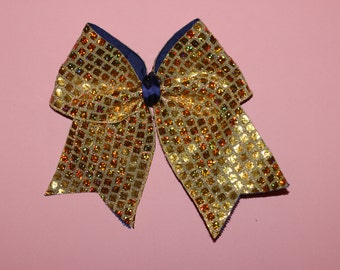 Gold Square Sparkly Cheerleading Bow
