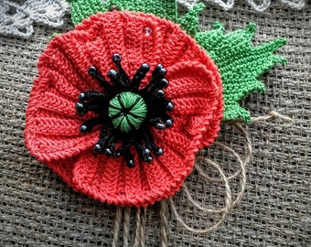 Brooch, Red Poppy Brooch, Knitted Brooch, Handmade Brooch, Poppy, Knitted Flower Brooch, Handmade Flower Brooch