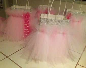 Set of 5 party favor bags gift tutu tulle