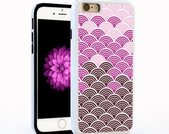 Japanese Wave Pattern, Dark Pink, Light Pink, Hard Plastic for iPhone6 / 6plus, iPhone5, Galaxy s5, or Galaxy s6