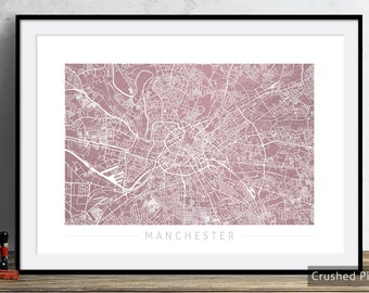 Manchester Map - City Street Map of Manchester England - Art Print Watercolor Illustration Wall Art Home Decor Gift - Textured COLOUR PRINT