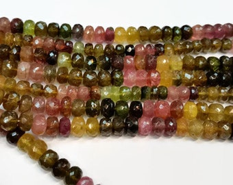 Tourmaline Roundel faceted 6mm Multy Color Beads
