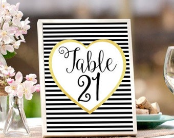 Printable Table Numbers, Wedding Table Numbers, Black and Gold, Vintage, Wedding Printables, Wedding Signage