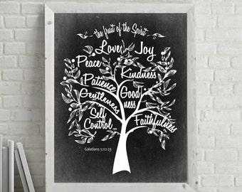 Instant Download * 8x10  scripture artwork   Fruit of the Spirit  Galatians 5:22 Inspirational artwork for your wall  DIY