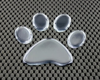 Paw Print Domed 3D Decal Sticker Chrome
