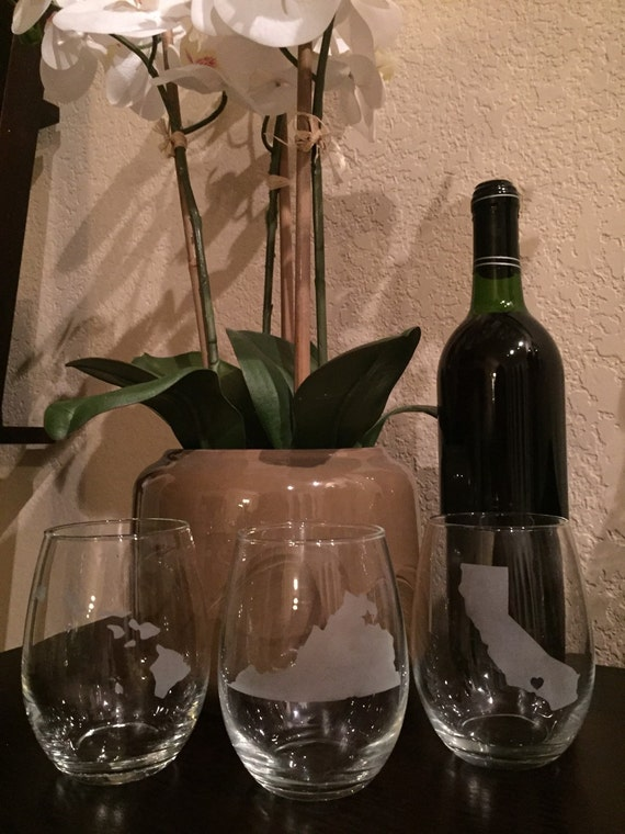 military duty stations state wine glass set of 3