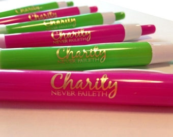 10 Relief Society pens - Charity Never Faileth (ten)
