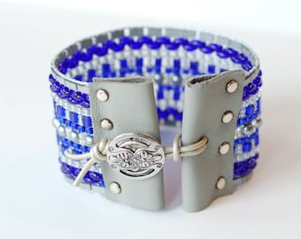 Blue and Gray Bracelet, Bead Loom Bracelet, Blue and Silver Cuff