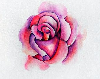 Map watercolour of a rose for mother's day
