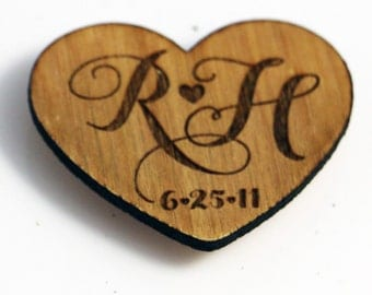 Custom Magnet with Couples Initials and Wedding Date - Anniversary Date - Personalized 5th Anniversary Gift - Wedding Gift Wooden Magnet