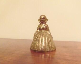 Brass Victorian Lady Bell, Vintage Brass Figurine Collectible, Dinner Bell, Servants Bell, Desk Bell