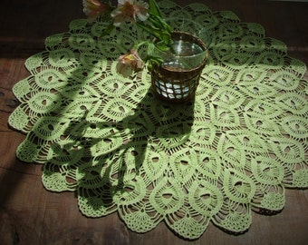 Salad Green Cozy Crochet Tablecloth, Tablerunner, Doily, Place Mat, For Home Decor.