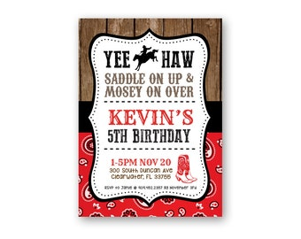 Cowboy Birthday Invitation - Printable Birthday Invitation - Digital Invitation - Digital File