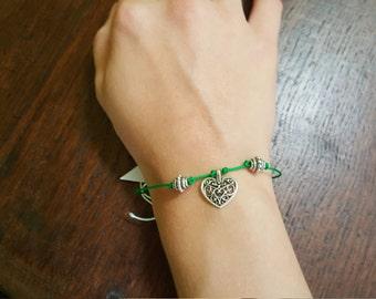 Bracelet, green, silver, heart