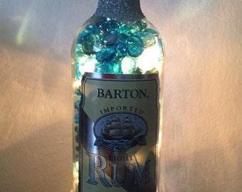 Lighted Barton Rum Bottle