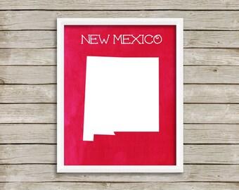 Printable Digital Art - New Mexico - Land of Enchantment - 8x10