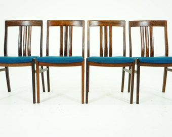 305-085 Danish Mid Century Modern 4 Rosewood Dining Side Chairs