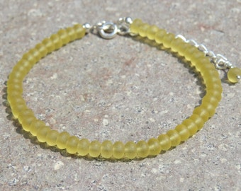 Yellow Sea Glass Beaded Bracelet With Extender