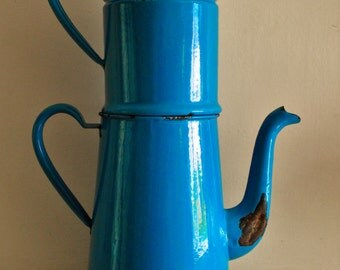 Vintage Tall Large Blue French Enamel Coffee Pot