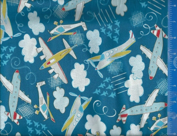 Plane time airplane blue fabric quilt or craft cotton for Childrens airplane fabric