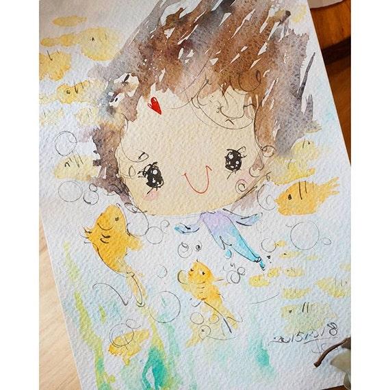 Original Watercolor Painting Ocean series-0003(7.5 x 9.8 inches)
