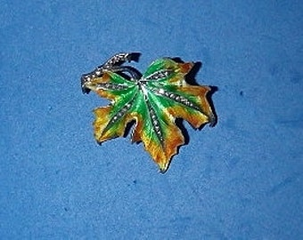 Alice Caviness enamel leaf- made in germany,sterling silver (price reduced)