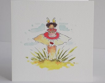 Fairy Toadstool Birthday Card