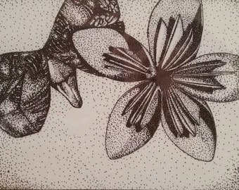 Origami Inspired Butterfly and Flower Print