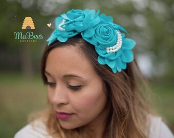 Wedding,Blue Floral Headband,Blue Headband Annd Flowers.