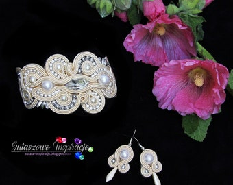 LUXURY Soutache SET, Bracelet and earrings - classy and elegant, exclusive hand made jewelry, christmas gift