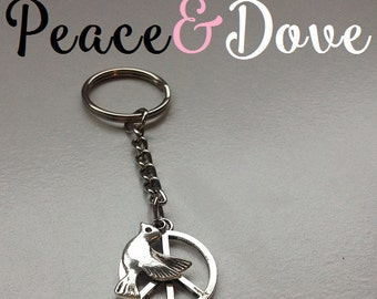 Silver Peace and Dove Key ring,  Peace in the World Keepsake Charm