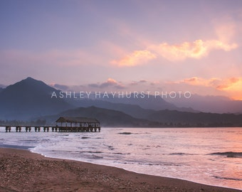 Hanalei Bay Pier in Kauai, Hawaii | 8x10 Print Matted to 11x14