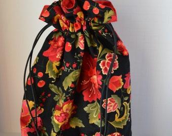 Resersible Flower Knitting/Crochet/Craft Project Drawstring Bag