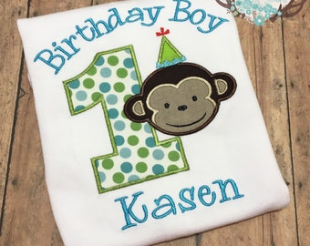 Boy Monkey First Birthday Bodysuit