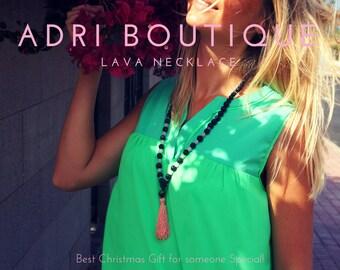 Lava Necklace, Diffuser Necklace, Tassel Necklace, Black Lava Necklace, Lava Jewelry, Long Necklace, Beaded Necklace, Quartz Necklace
