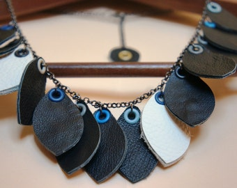 SALE !!! Genuine Leather Flower Leaves Necklace. ECO FRIENDLY White Black Leather Necklace !