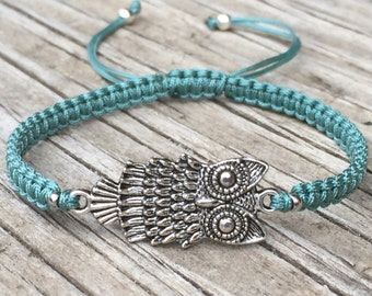 Owl Bracelet , Adjustable Cord Macrame Friendship Bracelet
