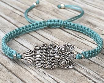 Owl Bracelet, Owl Anklet, Adjustable Macrame Friendship Bracelet, Owl Lover Gift, Animal Bracelet, Macrame Jewelry, Owl Jewelry, Gift