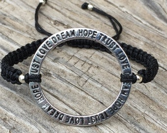 Inspirational Circle Bracelet , Cord Macrame Friendship Bracelet, Word Bracelet, Inspiration Jewelry, Gift for Her, Macrame Jewelry