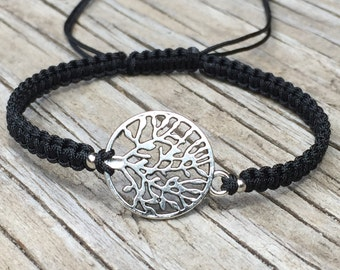 Tree of Life Bracelet, Tree of Life Anklet, Adjustable Cord Macrame Friendship Bracelet, Small Gift, Boho Bracelet, Tree of Life Jewelry