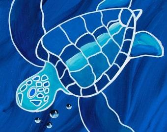 """Original Fine Art Giclee Print 11x14 """"Blue Honu"""""""