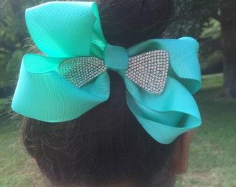 Hair bow with rhinestones/ hair bow set