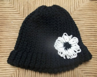 READY TO SHIP - Knit hat with flower, loom knitted hat, hat with flower detail, girls hat, knitted hat, knitted hat with flower, knit hat