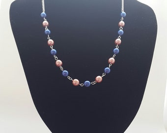 Dark blue pastel pink necklace