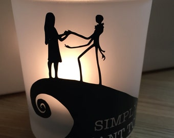 Nightmare Before Christmas, Jack and Sally, Personalized Candle Holder, Christmas or Holiday Gift