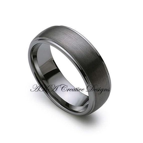 Mens tungsten band 8mm gun metal brushed by akacreativedesigns for Mens gunmetal wedding rings