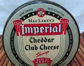 On Sale MacLaren's Imperial Cheddar Club Cheese Tin, Kraft Food Chicago